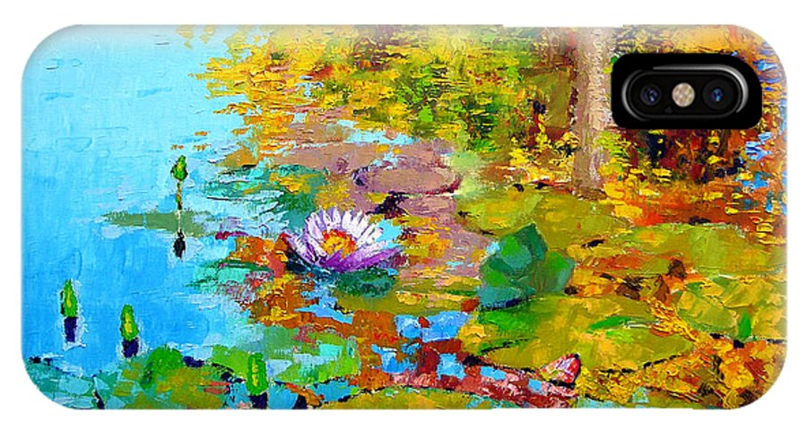 Fall IPhone X Case featuring the painting Aglow With Fall by John Lautermilch
