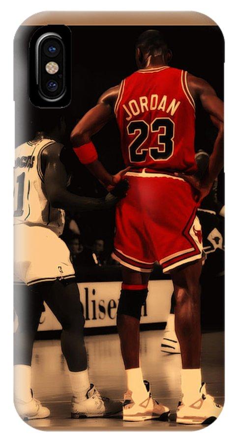 Michael Jordan IPhone X Case featuring the digital art Air Jordan And Muggsy  Bogues by Brian f55fe5d03