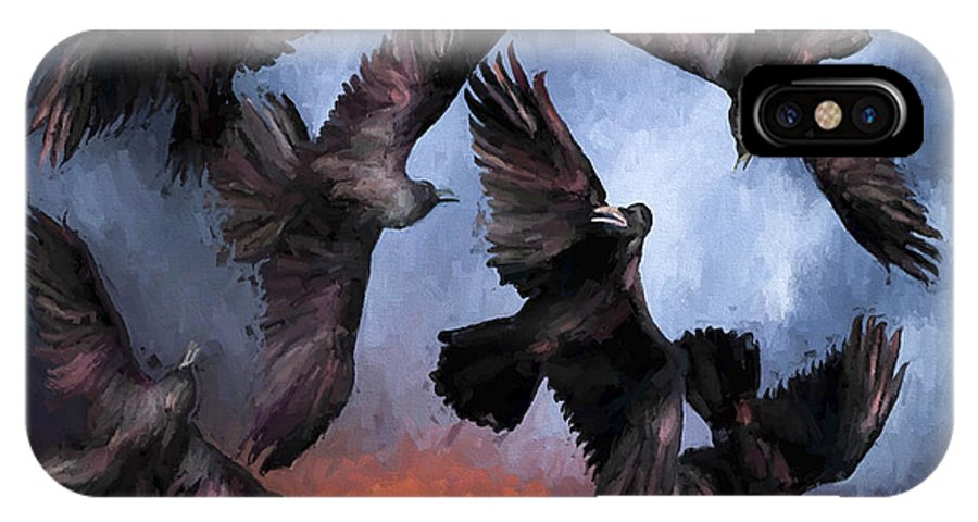 Fine Art IPhone X Case featuring the painting Airborne Unkindness by David Wagner