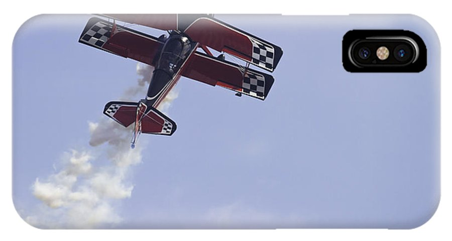 Airplane IPhone X Case featuring the photograph Airplane Performing Stunts At Airshow Photo Poster Print by Keith Webber Jr
