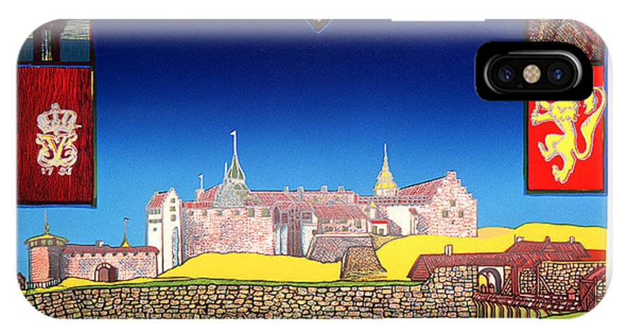 Historic IPhone X Case featuring the mixed media Akershus Festning -akershusfortress by Jarle Rosseland