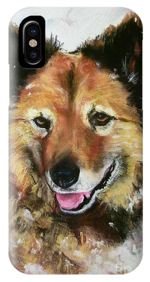 Dog IPhone X Case featuring the painting Akia by Frances Marino