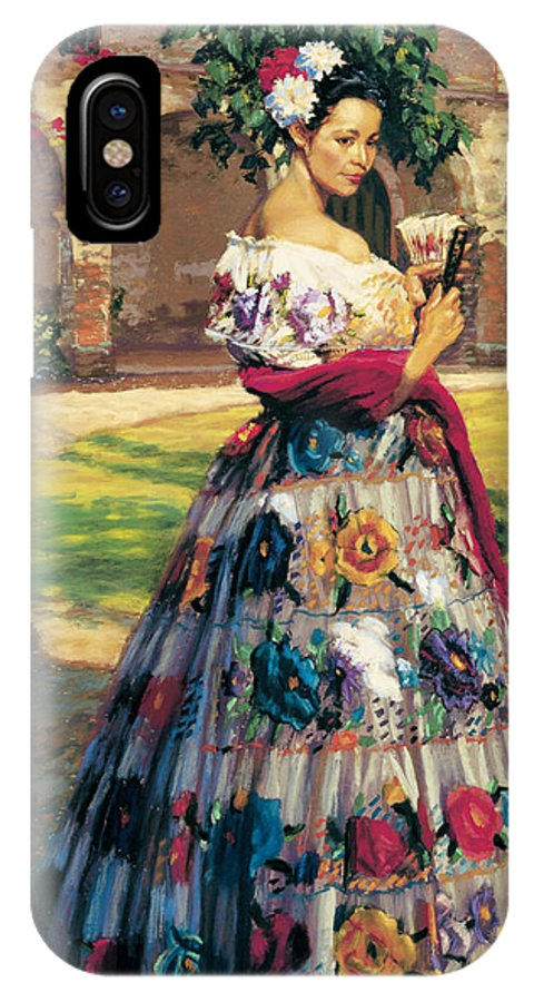 Woman Elaborately Embroidered Mexican Dress. Background Mission San Juan Capistrano. IPhone X Case featuring the painting Al Aire Libre by Jean Hildebrant