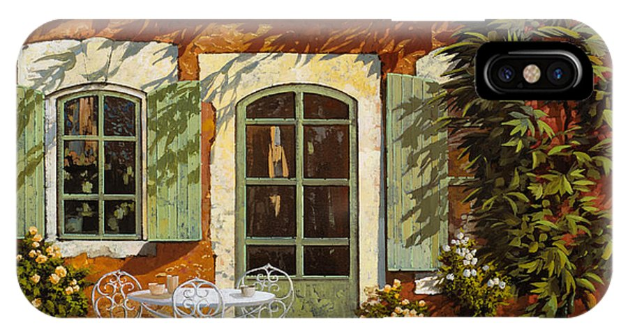 Landscape IPhone X Case featuring the painting Al Fresco In Cortile by Guido Borelli