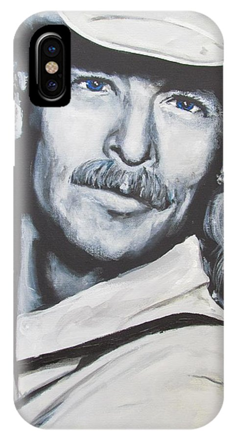 Alan Jackson IPhone X Case featuring the painting Alan Jackson - In the Real World by Eric Dee