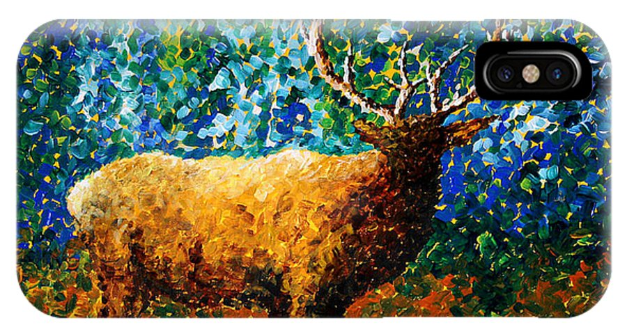 Abstract IPhone X Case featuring the painting Alaskan Elk Original Madart Painting by Megan Duncanson