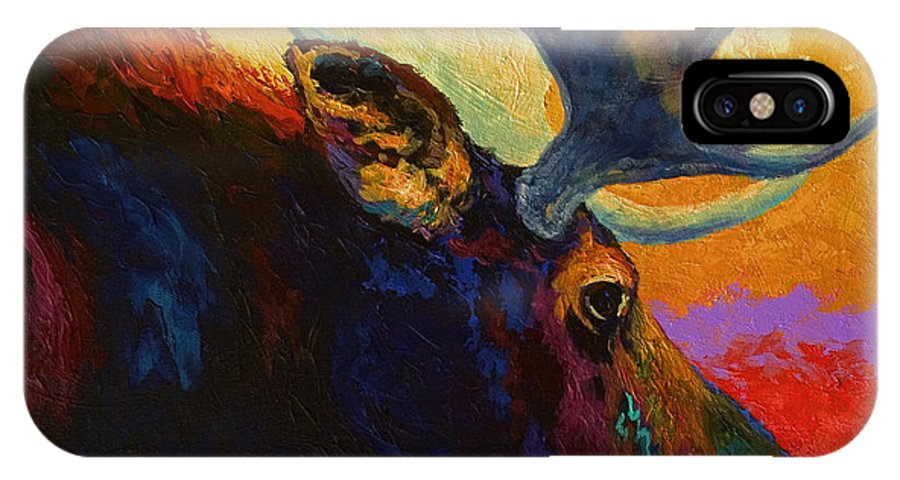 Moose IPhone X Case featuring the painting Alaskan Spirit - Moose by Marion Rose