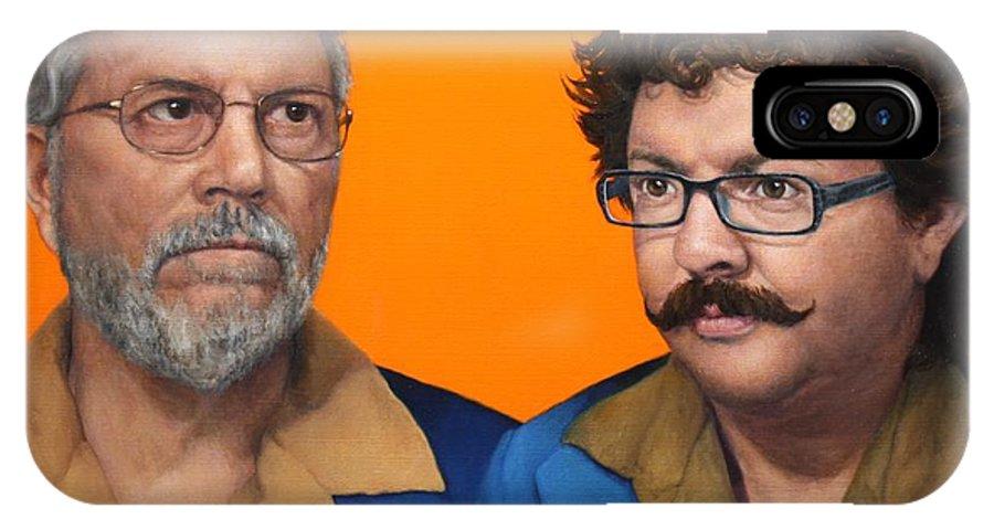 Double Portrait IPhone X Case featuring the painting Albert And Adam by Deborah Allison