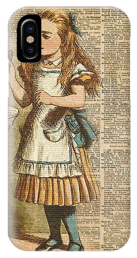 Drink IPhone X Case featuring the digital art Alice In Wonderland Drink Me Vintage Dictionary Art Illustration by Anna W