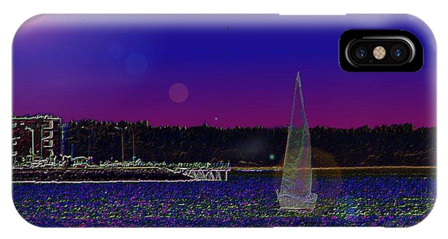 Seattle IPhone X Case featuring the digital art Alki Ghost Sail by Tim Allen