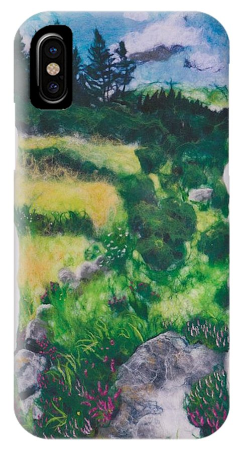 Landscape IPhone X Case featuring the tapestry - textile All Among The Blooming Heather by Bridget Karn