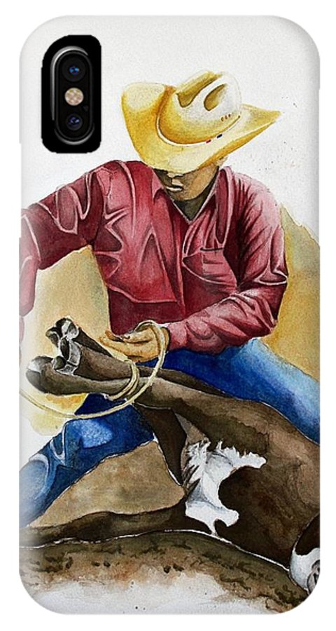 Calf IPhone X Case featuring the painting All Cinched Up by Jimmy Smith