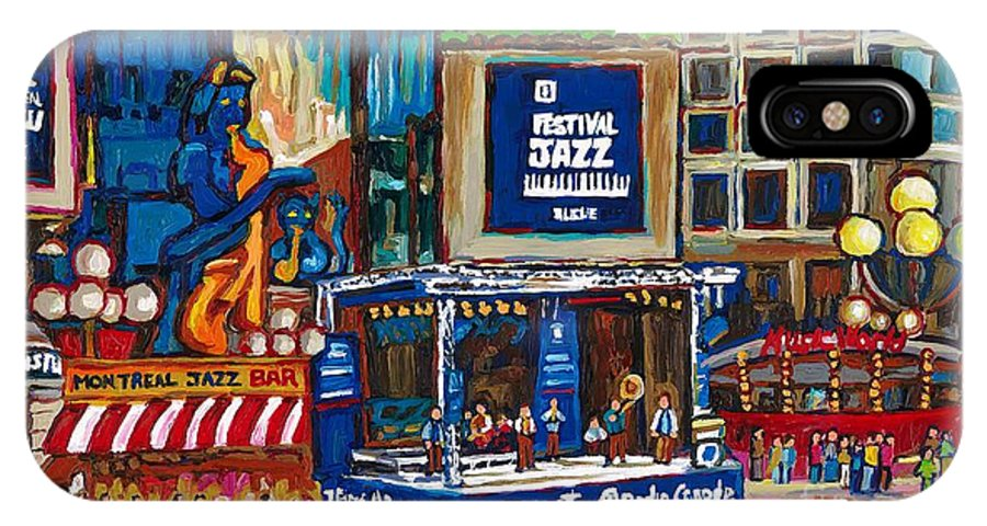 Montreal IPhone X Case featuring the painting All That Jazz by Carole Spandau