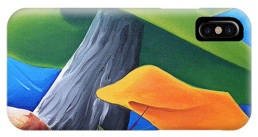 Landscape IPhone X Case featuring the painting All Under One Roof by Richard Hoedl
