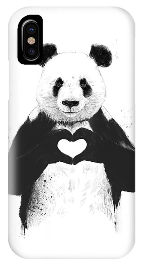 Panda IPhone X Case featuring the mixed media All you need is love by Balazs Solti