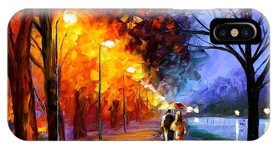 Afremov IPhone X Case featuring the painting Alley By The Lake by Leonid Afremov