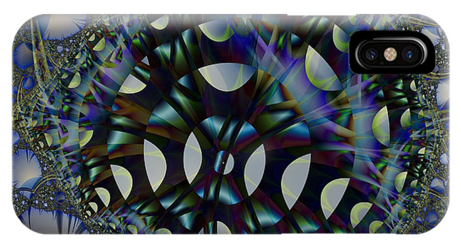 Fractal IPhone X Case featuring the digital art Allien Gears by Frederic Durville