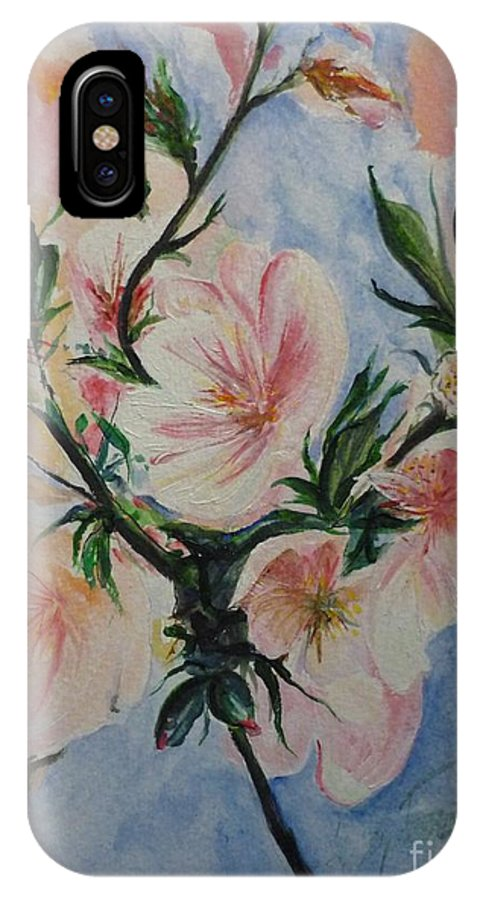 Flowers IPhone X Case featuring the painting Almond Blossom by Lizzy Forrester