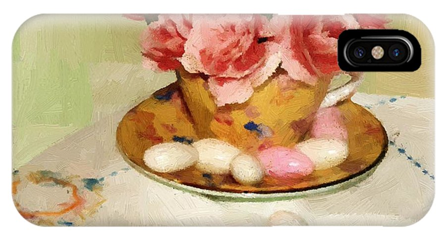 Almonds IPhone X Case featuring the painting Almond Blossom Tea by RC DeWinter