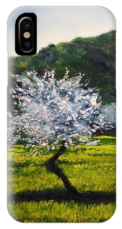 Almond Tree IPhone X Case featuring the painting Almond Tree In Blossom by Lizzy Forrester