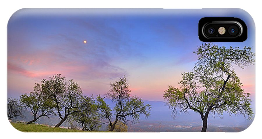 Sunset IPhone X Case featuring the photograph Almonds And Moon by Guido Montanes Castillo