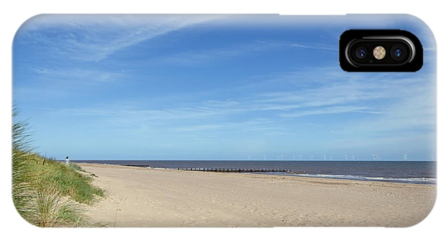 Skegness IPhone X / XS Case featuring the photograph Almost Deserted Beach At Skegness by Rod Johnson