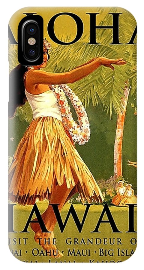 Aloha IPhone X Case featuring the painting Aloha Hawaii, Hula Girl Dance by Long Shot