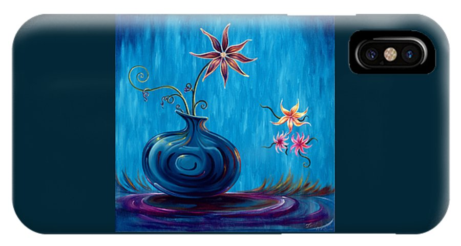 Fantasy Floral Scape IPhone X Case featuring the painting Aloha Rain by Jennifer McDuffie