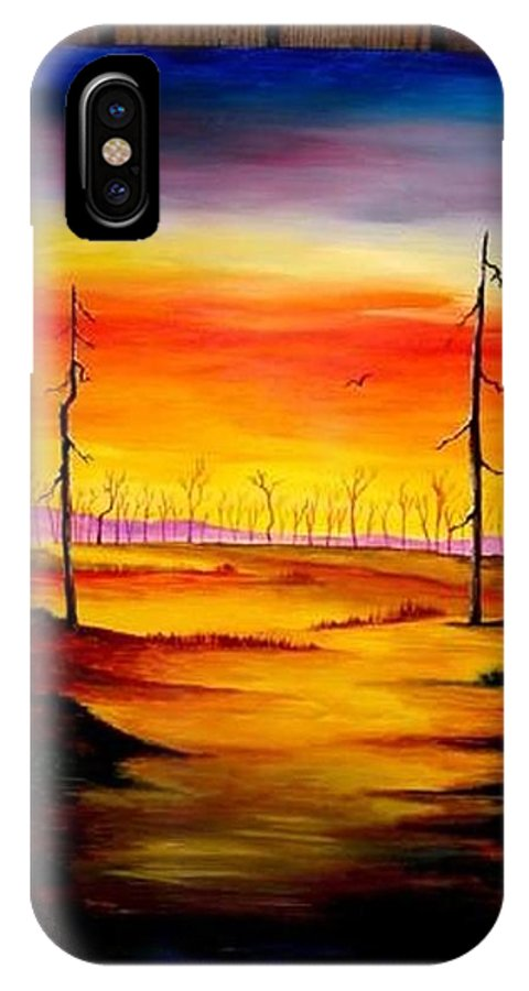 Landscape IPhone X Case featuring the painting Alone by Glory Fraulein Wolfe