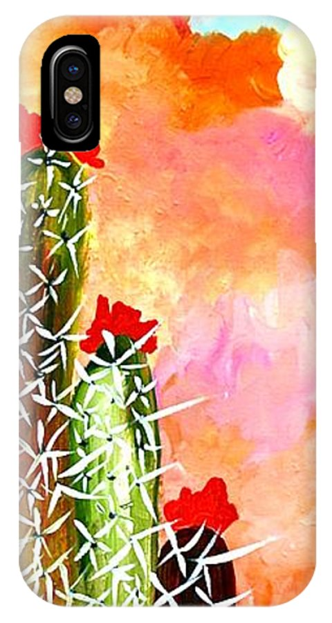 Desert IPhone X Case featuring the painting Alone In The Desert by Maureen Janssens