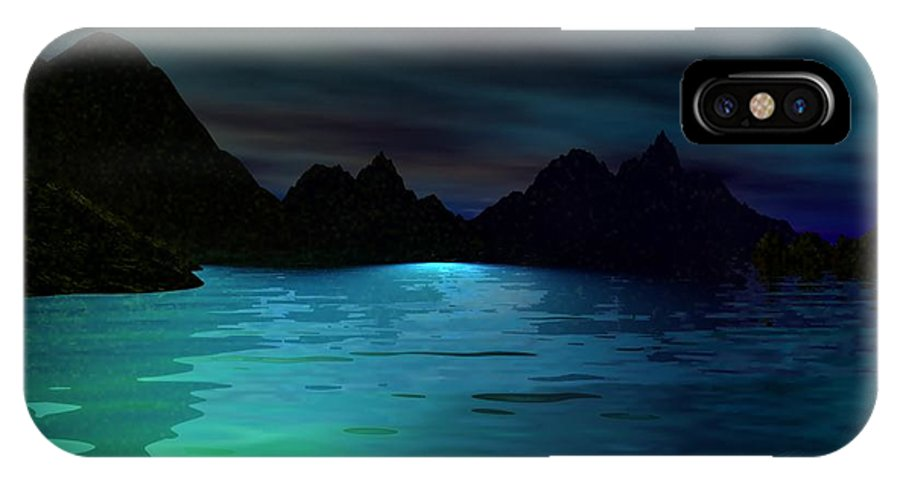Seascape IPhone X Case featuring the digital art Alone On The Beach by David Lane