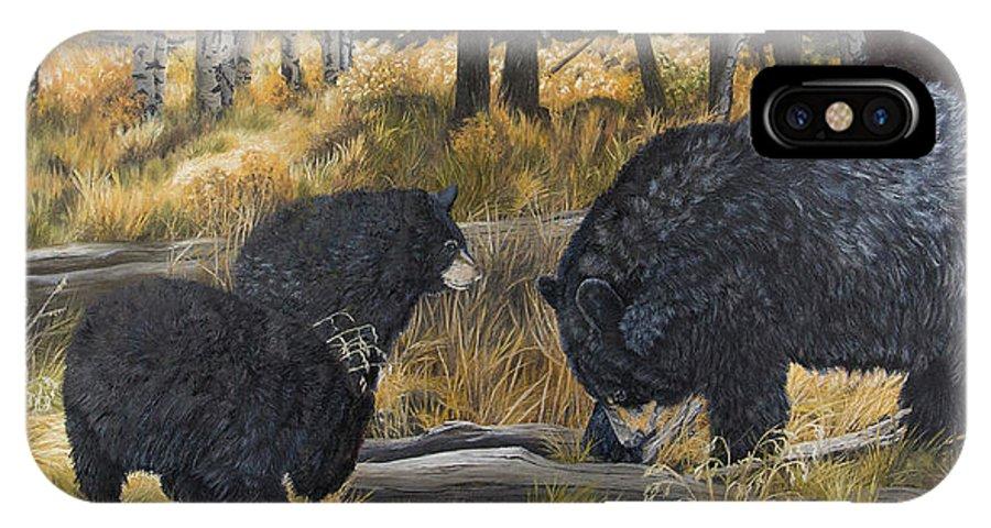 Black Bear IPhone X Case featuring the painting Along An Autumn Path - Black Bear With Cubs by Johanna Lerwick