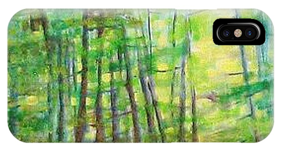 Landscape IPhone X Case featuring the painting Along Buckslide Road by Karen Sloan