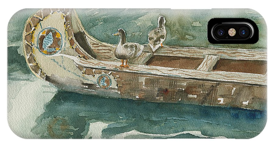 Duck IPhone Case featuring the painting Along For The Ride by Arline Wagner