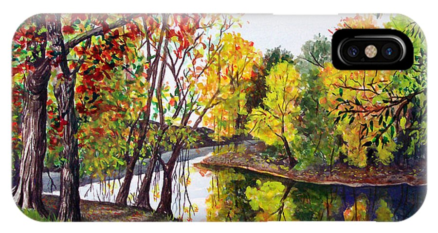 Blanchard River IPhone X Case featuring the painting Along The Blanchard by Nancy Cupp