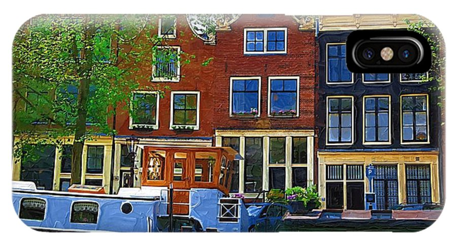 Amsterdam IPhone X Case featuring the photograph Along The Canal by Tom Reynen