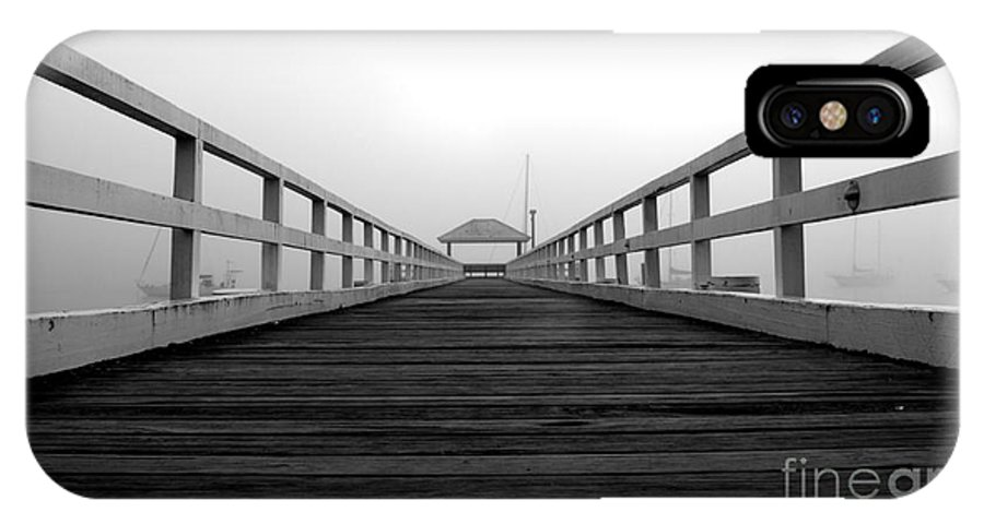 B&w IPhone X Case featuring the photograph Along The Pier by Trena Mara