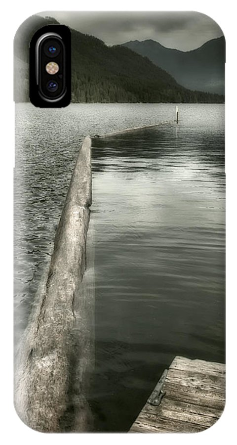 Washington IPhone X Case featuring the photograph Along The Washington Coast - Dock, Breakwater, And Mountains by Mitch Spence