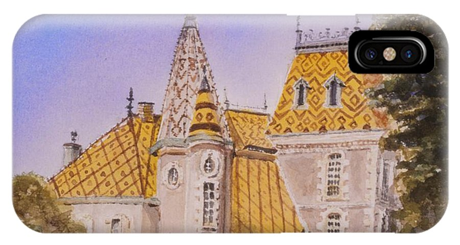Vineyard IPhone X Case featuring the painting Aloxe Corton Chateau Jaune by Mary Ellen Mueller Legault