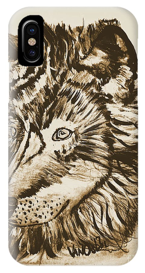 Alpha IPhone X Case featuring the mixed media Alpha Male - The Wolf - Antiqued by Scott D Van Osdol