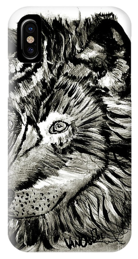 Alpha IPhone X Case featuring the mixed media Alpha Male - The Wolf by Scott D Van Osdol