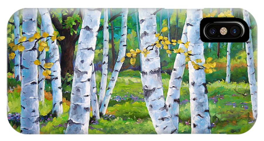 Birche; Birches; Tree; Trees; Nature; Landscape; Landscapes Scenic; Richard T. Pranke; Canadian Artist Painter IPhone X Case featuring the painting Alpine Flowers And Birches by Richard T Pranke