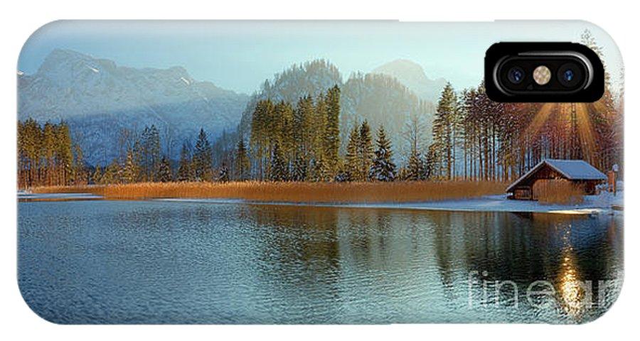 Winter IPhone X Case featuring the photograph Alplake Winter Version by Silvio Schoisswohl