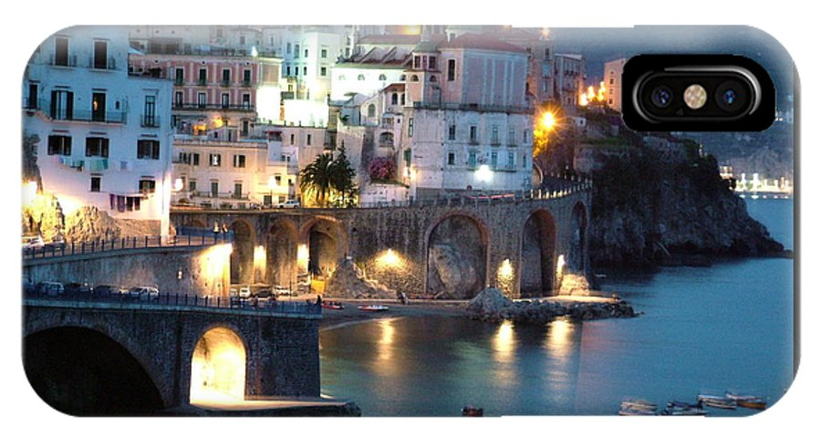Horizontal IPhone X Case featuring the photograph Amalfi Coast At Night by Donna Corless
