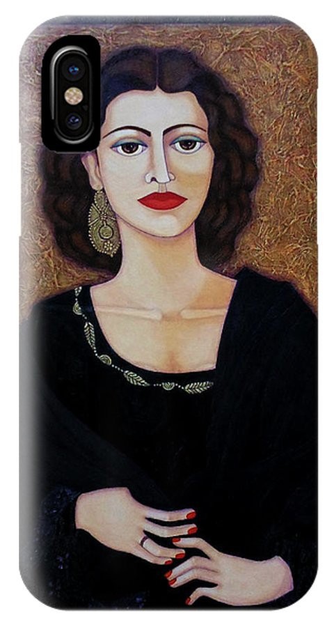 Portrait IPhone X Case featuring the painting Amalia Rodrigues - Music Born In The Soul by Madalena Lobao-Tello