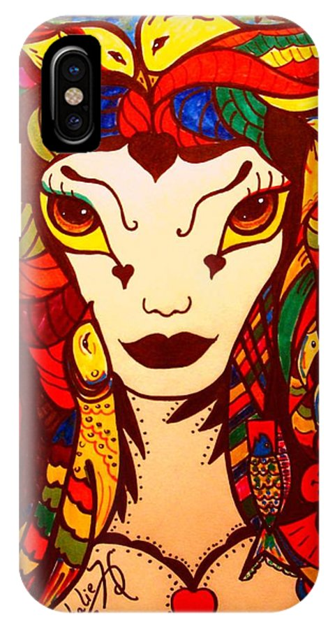 Fantasy IPhone X Case featuring the painting Amazon Queen by Natalie Holland