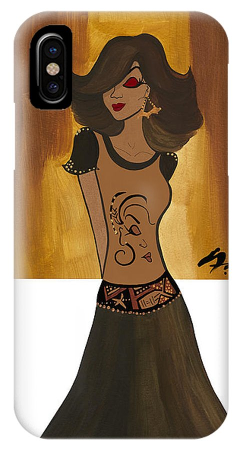 Warm IPhone X Case featuring the painting Amber  by Simone Fennell