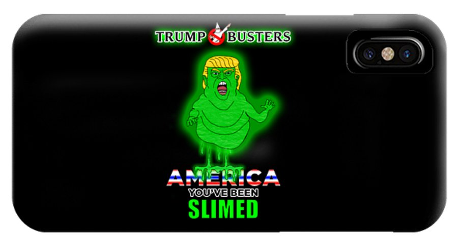 Donald Trump IPhone X Case featuring the digital art America, You've Been Slimed by Sean Corcoran
