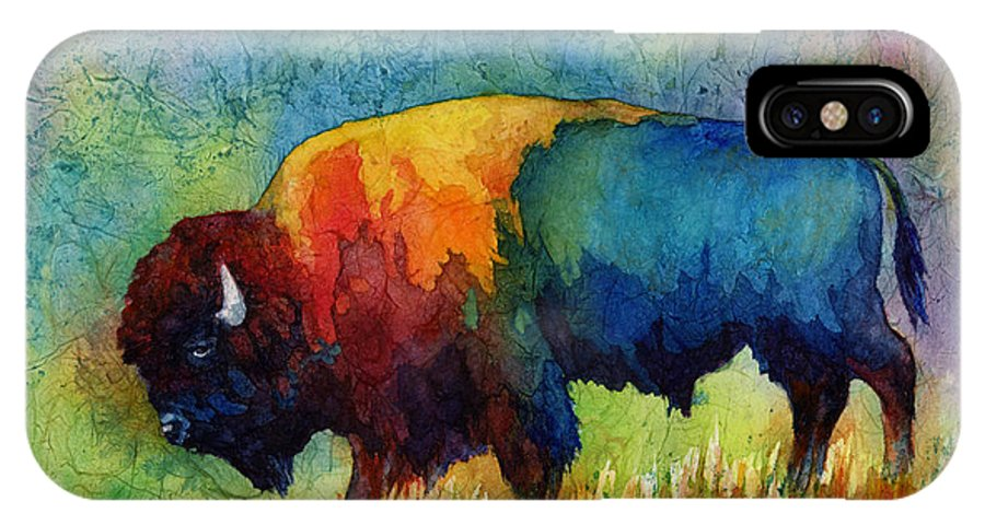 Bison IPhone X Case featuring the painting American Buffalo IIi by Hailey E Herrera