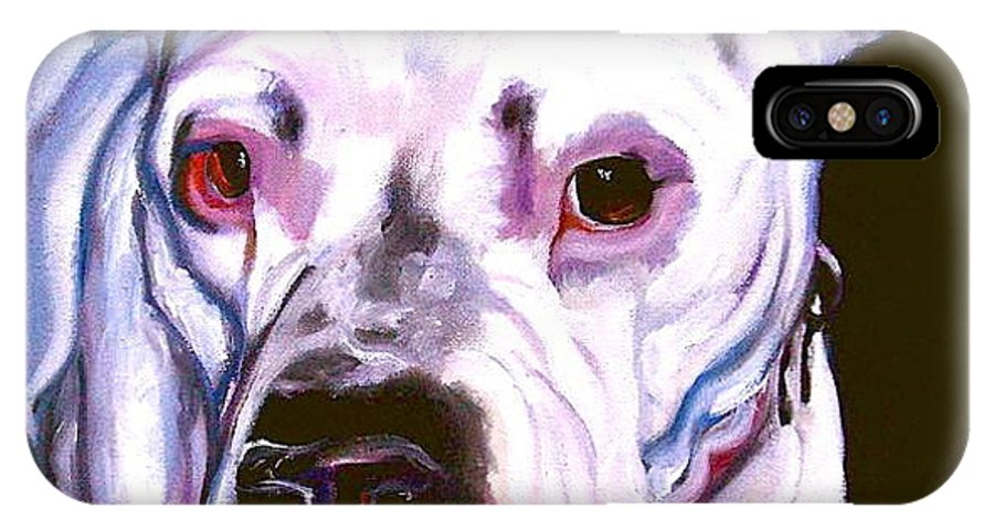 Dogs IPhone X Case featuring the painting American Bulldog by Susan A Becker